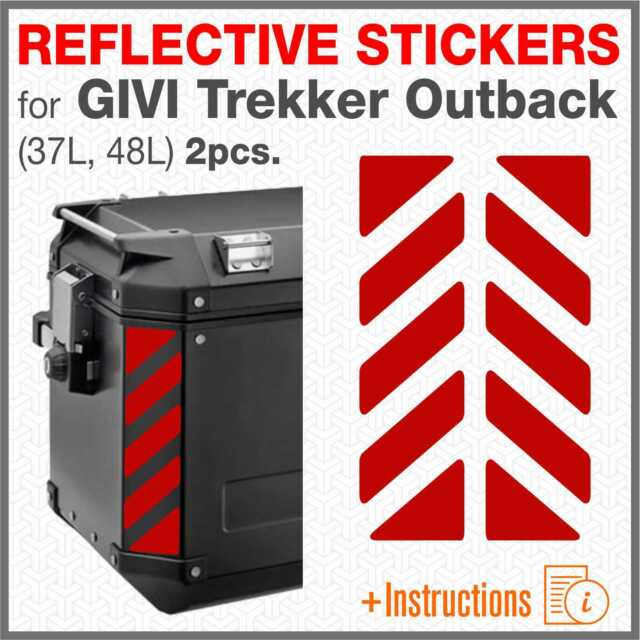 2pcs Reflective Strips Red Compatible With Givi Trekker Outback 48 37 Ltr