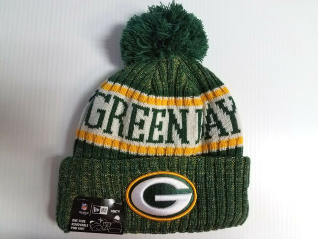 39cd055bf2d558 YOUTH Green Bay Packers New Era Knit Hat On Field 2018 Sideline Beanie Cap