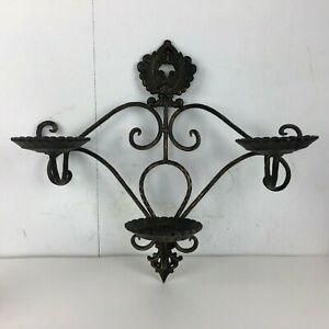3-Pillar-Black-Candle-Holder-Wall-Decor-Sconce-Metal-Hanging-Gold-Gothic-Vtg