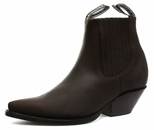 New Grinders Mustang Black Leather Cowboy Boot Slip On Cuban Heel Chelsea Boots