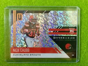 NICK-CHUBB-ROOKIE-CARD-PRIZM-REFRACTOR-RC-BROWNS-SP-Flight-2018-UNPARALLELED-216