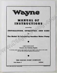 s l300 wayne 70 gas pump parts manual bk wayne70manual ebay