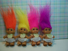 """FOUR STANDING BABIES WITH BIBS  - 2"""" Russ Troll Dolls - NEW IN ORIGINAL WRAPPERS"""