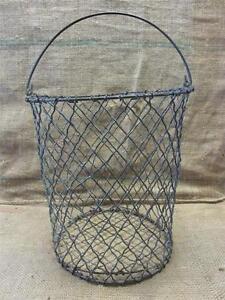 Wire Waste Basket vintage metal wire waste basket > antique old shabby garden iron