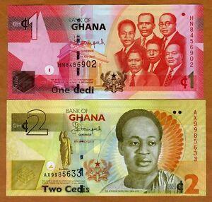 Full Set Ghana 1 2 5 10 20 50 Cedis Random Year UNC