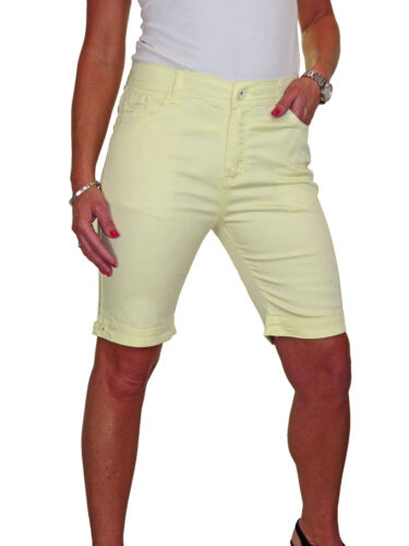 Womens Plus Size Jean Style Shorts Chino Sheen Yellow 14