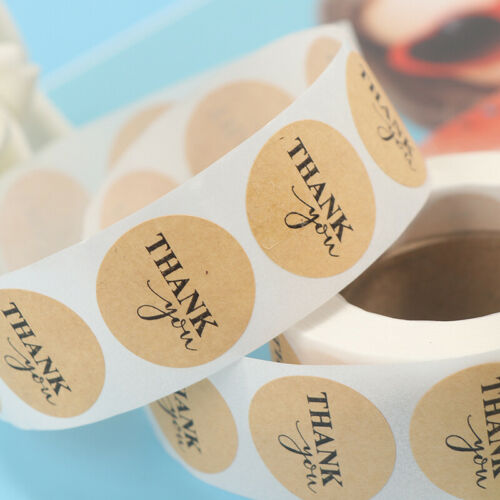 500pcs Round Kraft Handmade Stickers Scrapbooking for Package Thank you stic.zh