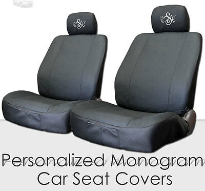 NEW PAIR BLACK FLAT CLOTH AUTO CAR FRONT SEAT COVERS FREE MONOGRAM FOR FORD