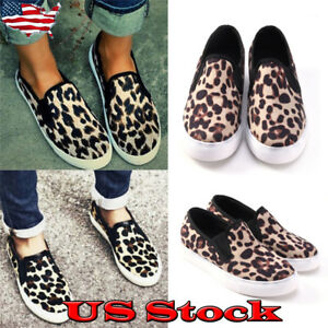 US-Women-Ladies-Leopard-Printed-Slip-on-Flat-Sneaker-Pumps-Shoes-Loafers-Shoes