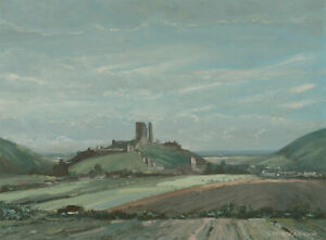 Charles-Evison-b-1910-Signed-20th-Century-Oil-Corfe-Castle-Dorset