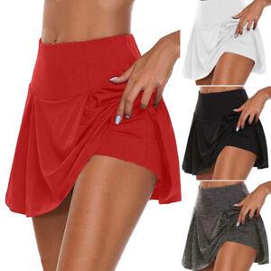 Plus-Size-Women-Ladies-Sport-Skort-Gym-Yoga-High-Waisted-Shorts-Mini-Skirt-Dress