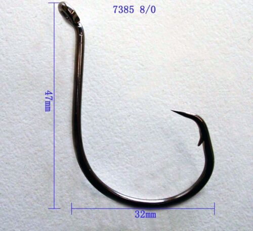 Octopus Circle CARBON STEEL Hooks Sz 8//0 QTY 25 PCS Chemically Sharpened OFFSET