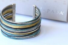 "Silpada Sterlng Silver Brass ""Fresco Cuff"" Turquoise Look Bracelet B3082 $199"
