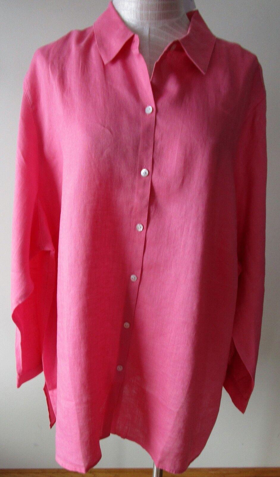 J.Jill     Linen   shirt      XL     NWT      Essential Linen  STRAWBERRY