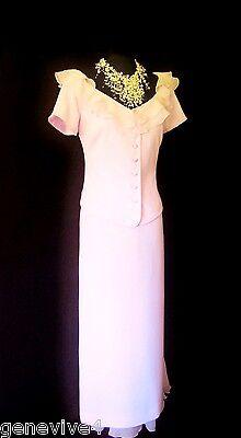PRESEN Size 12 14 Light Pink Ladies Designer Wedding Skirt & Top Jacket Outfit