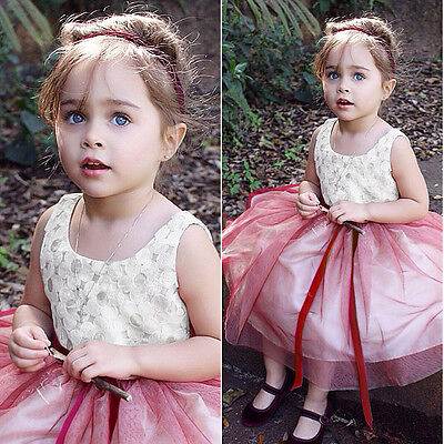 Kids Toddler Baby Girl Clothes Skirt White Flower Fancy Tutu Dress Party Dress