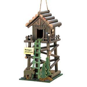 HOME-GARDEN-DECOR-RANGER-STATION-BIRD-HOUSE-BIRDHOUSE-WOOD