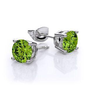 2-00-Ct-Green-Peridot-Gemstone-Silver-Stud-Earrings-6MM