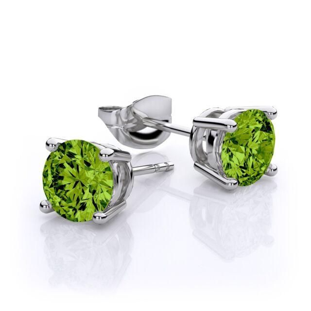 2.00 Ct Green Peridot Gemstone Silver Stud Earrings 6MM