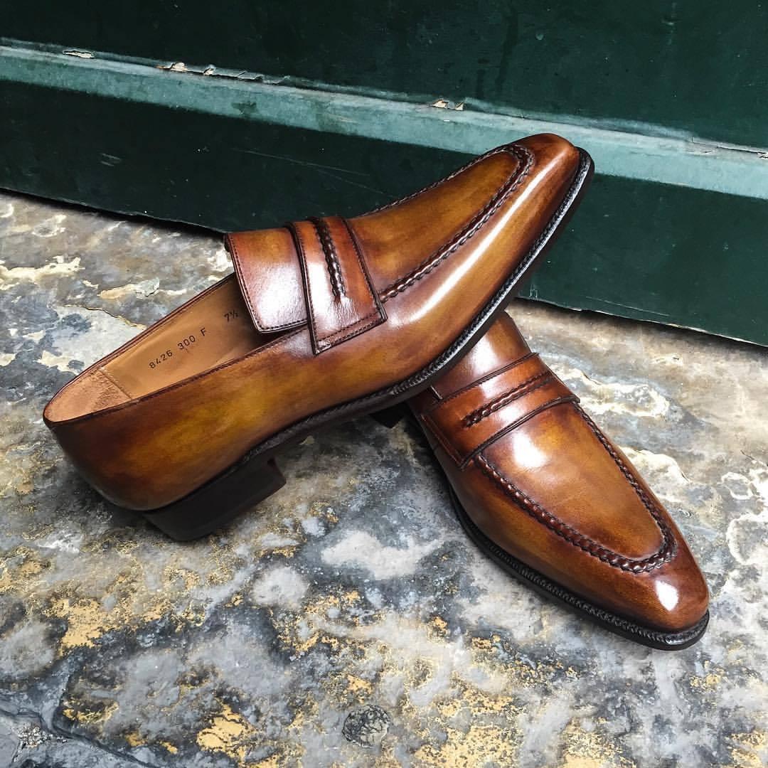 la migliore selezione di Handmade Leather Leather Leather Cognac Patina Classic Loafers for Uomo Custom Uomo dress shoe  risposta prima volta