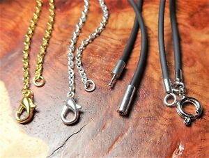 Necklace-Chains-Gold-Silver-Plated-Lobster-Clasp-Bayonet-Spring-Ring-Black-Cords
