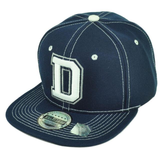 Dallas Texas City 3D Initial D Logo Snapback Flat Bill Brim Hat Cap White  Blue 1bf09bda47a