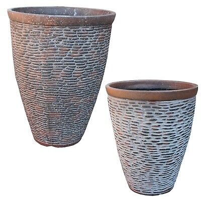 Rustic Stone Large Plant Pots Round Tall Plastic Planters