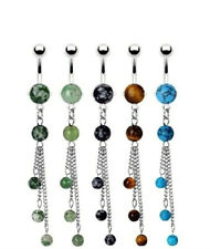 316L Surgical Steel Semi Precious Stone Navel/Belly Ring 3 Chain Dangles (CSP02)