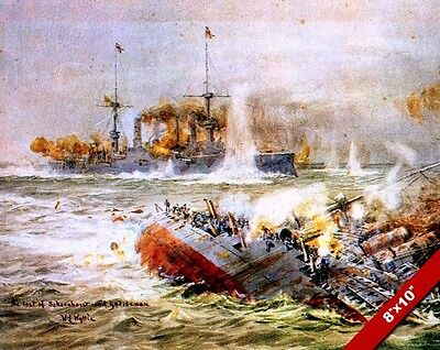 NAVAL BATTLE OFF JUTLAND WWI WORLD WAR 1 MILITARY ART PAINTING REAL CANVAS PRINT