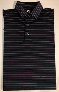Footjoy-Short-Sleeve-Polo-Golf-Shirt-Blue-Coral-Stripes-Stretch-Men-039-s-Large-EUC