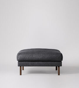 Swoon Munich Living Room Stylish Anthracite Grey Smart Wool Ottoman - RRP £399