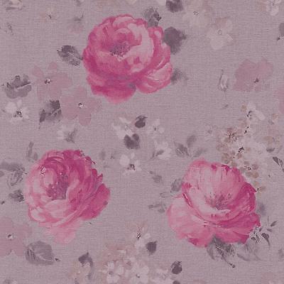 HOLDEN DECOR PIVOINE jaune rose gris floral Papier peint roses fleurs peintes