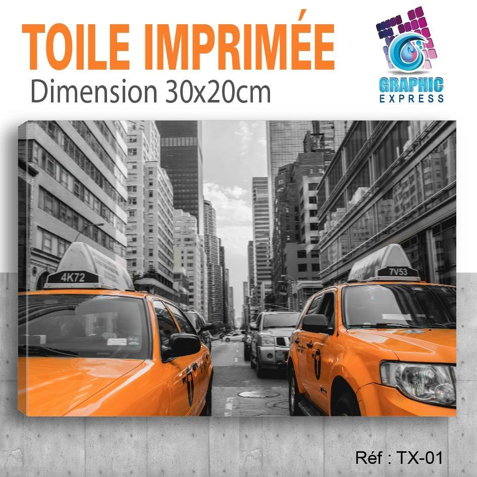 30x20cm - TOILE IMPRIMEE TAXI NEW YORK MURALE - TABLEAU DECORATION MURALE YORK - TX-01 c5d389