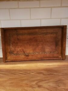 Vintage Carved Inlay Wood Serving Tray-INDIA  20x11.