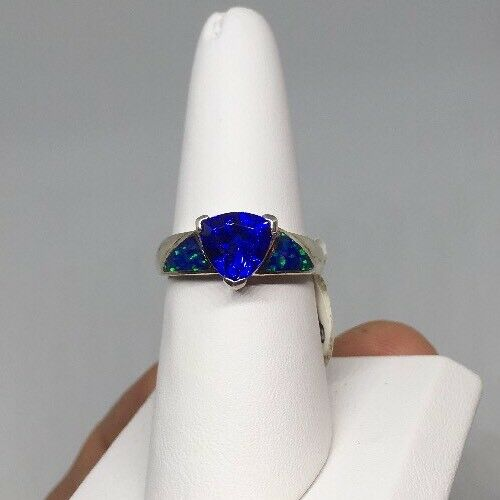 Sterling Silver Lab Created Sapphire Ring Blue 8