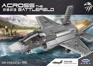 Staedtisches-Militaer-F35-Kampfflugzeug-Baustein-Luftfahrt-Flugzeuge-Modell-646PCS