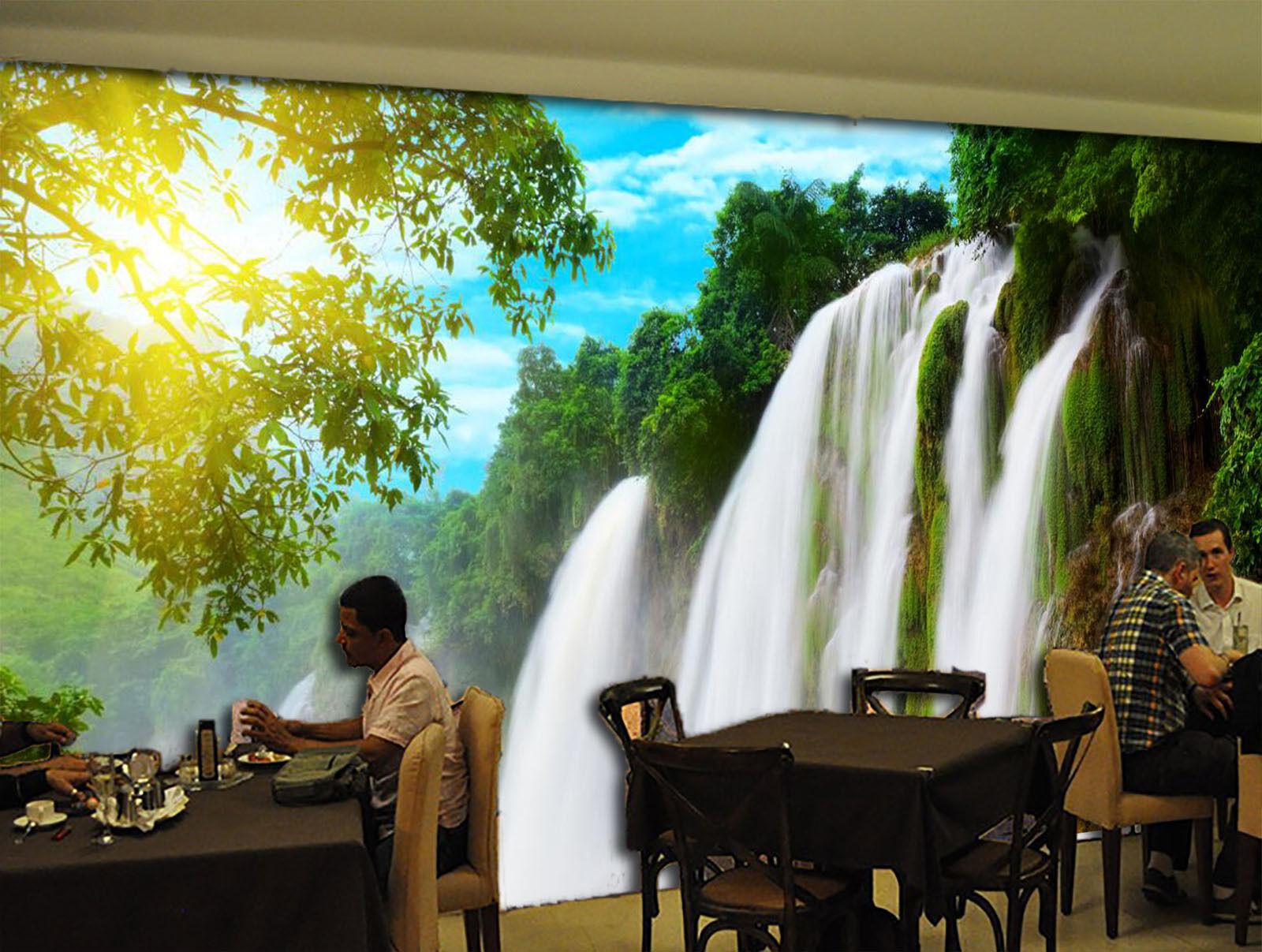 3D Sonnenlicht, Wasserfall 8 Fototapeten Wandbild Fototapete BildTapete Familie