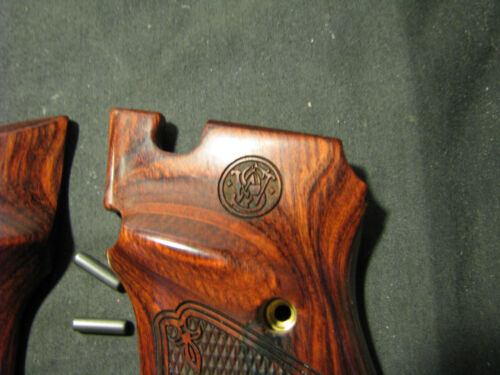 Smith /& Wesson Model 41//46 Rosewood Checkered Target Pistol Grips w//S/&W LOGO NEW