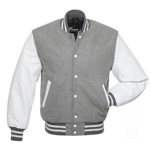 Best Quality Greywhite Varsity Jacket In Wool Body Genuine