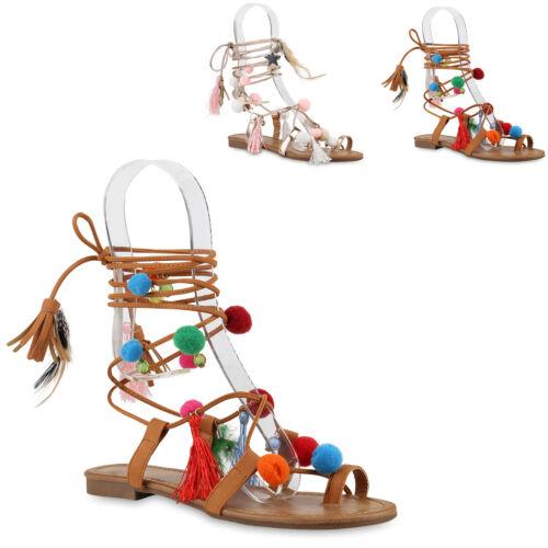 Damen Riemchensandalen Römersandalen Ethno Pom Poms Quasten Schuhe 817781 Mode