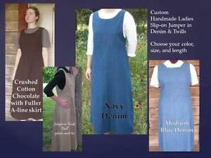 Ladies-PLUS-1X-2X-3X-modest-jumper-CUSTOM-blue-jean-long-full-navy-denim-khaki
