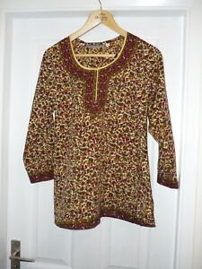 Multi-coloured-paterned-Tunic-top-by-A-amp-R-fashions-UK-size-10-EU38