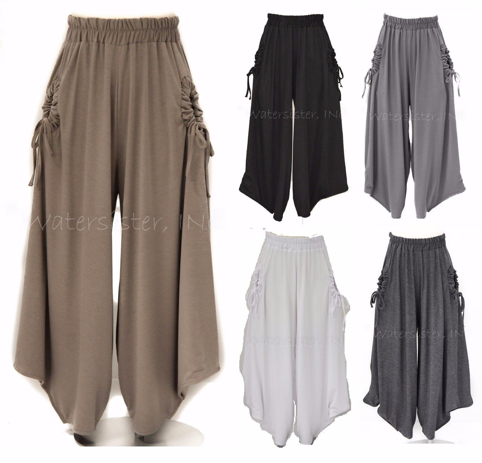 Sí Suave Jersey Kula  Pantalón De Pierna Ancha Harem dobladillo Pantalones de cultivo Plus 2x 3x 5 Colors  seguro de calidad