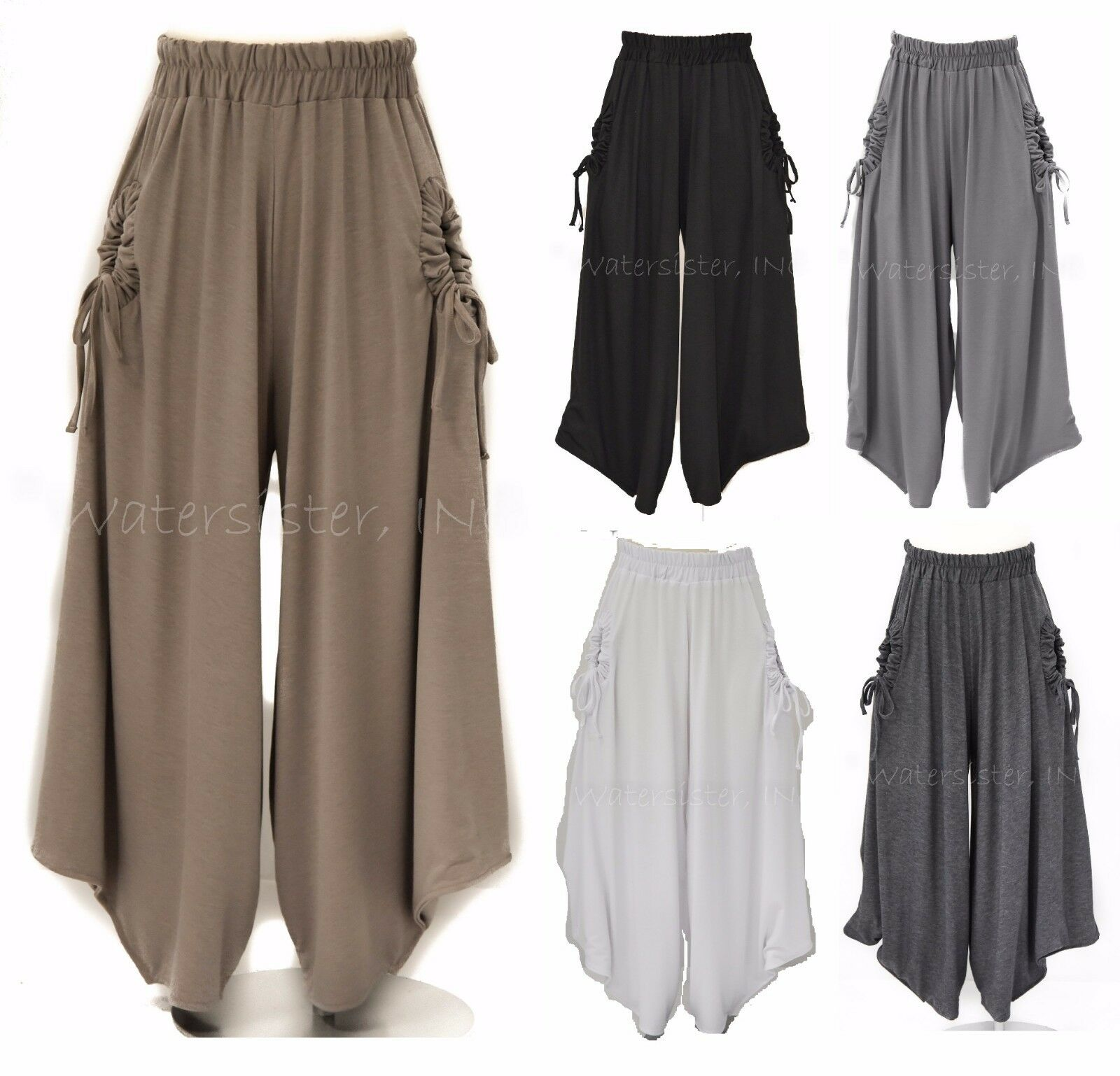 YEA Soft Jersey  KULA PANT Wide Leg Harem Hem Crop Pants PLUS  2X 3X  5 COLORS
