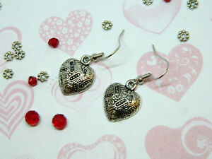 Antiqued-Intricate-Design-Heart-Earrings-Silver-Tone