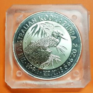 1992-KOOKABURRA-2-OZ-Australia-999-FINE-SILVER-ONZA-Plata-2-Dolares-Dollars