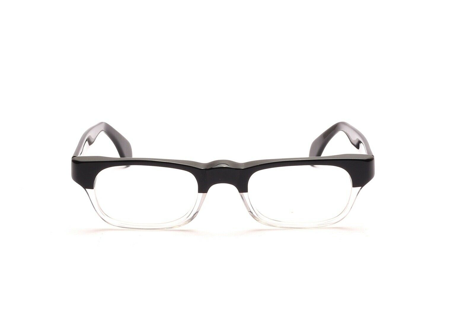 Retro Brille 60er Jahre Fassung Acetat Schwarz Kristall, Italy 48 - 21 mm EG2