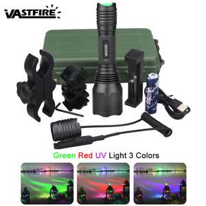 Taktische Taschenlampe UV Grün Rot LED Jagd Licht Varmint Predator Taschenlicht