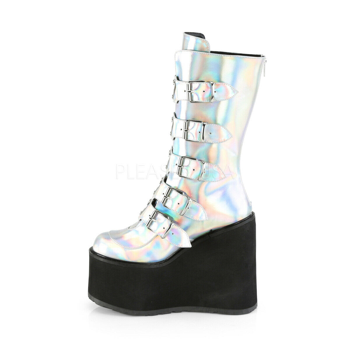 Swing 230 Silver Hologram Boot 5.5  Platform Heart Hologram Strap Design Goth