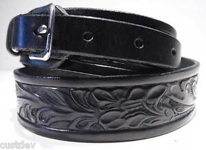 brown black leather western embossed ranger belt 655r ebay